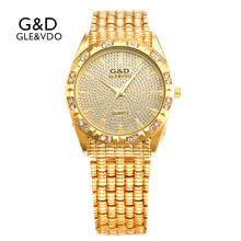 A178 G&D GLE&VDO Womens Watches Gold Luxury Ladies Bracelet Watch Fashion Quartz Wristwatches relogio feminino Stainless Steel