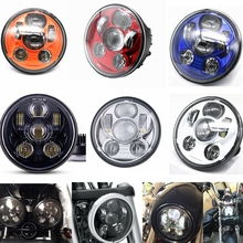 5.75 inch Led headlight halo Ring white DRL For Harley Sportster Touring – Super Glide Dyna 5 3/4″daymarker Motorcycle Headlamp