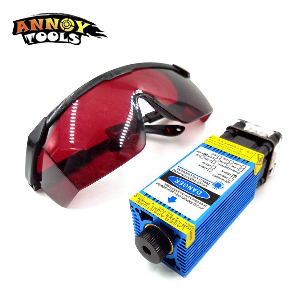 5500 mw 2500 mw 15000 mw 33mm módulo láser azul ajustable CNC grabado láser módulo PWM/TTL 3500 cortador láser mw para CNC3018pro