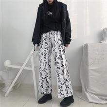 Harajuku BF sytle Китайские Письма Леопардовые Штаны Женщины Хиппи Flare Свободные брюки для женщин