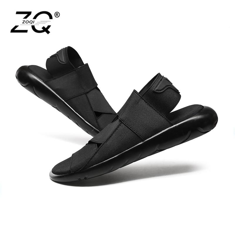 ZOQI חדש אופנה קיץ חוף לנשימה גברים סנדלי עור אמיתי גברים של סנדל איש סיבתי נעליים