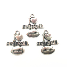 20Pcs Ancient Silver Tone Pendants For Necklaces I Iove America Football Craft Fashion Jewelry DIY Findings Charms 20mm