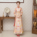 Chinese Satin Cheongsam Bride Wedding Dragon Dress Long Sleeve Qipao Dress Traditional Robe De Oriental Vintage Qi Pao Mariage