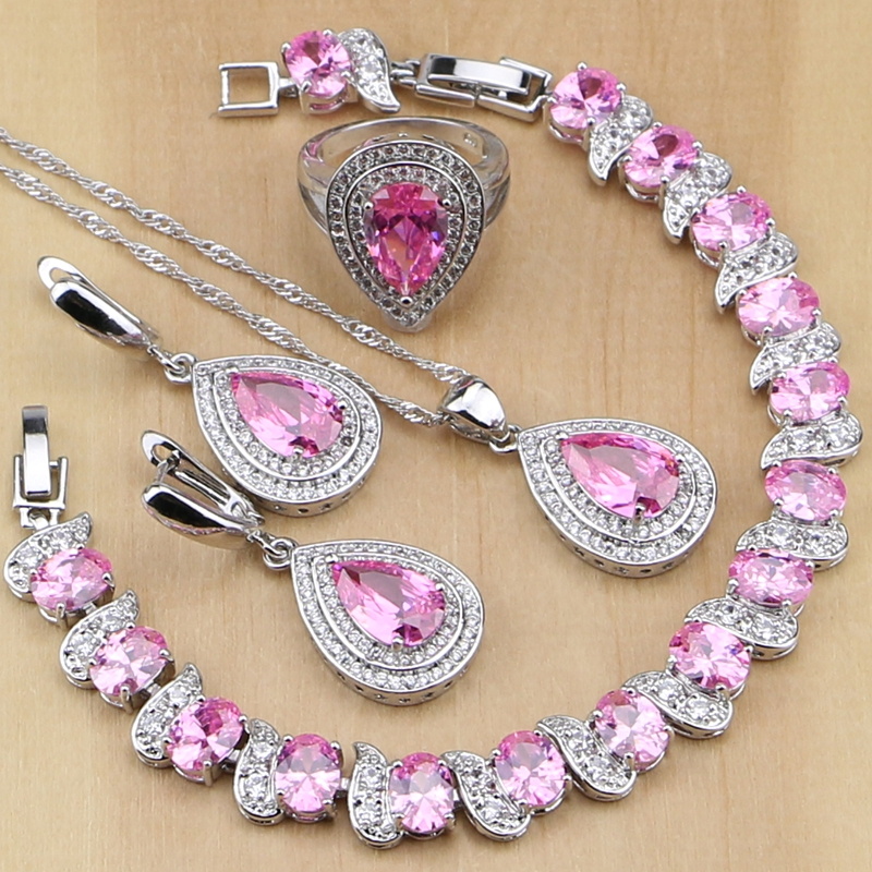 Přírodní kapka vody Pink CZ 925 Sterling Silver Sada šperků pro ženy Svatební náušnice / Přívěsek / Náhrdelník / Prsteny / Náramek