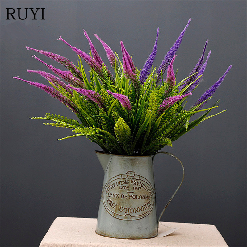 High Quality Artificial Flowers Multicolor Plastic Lavender Office Home decorative Grass Simulation Plant Wall Accessories Decor
