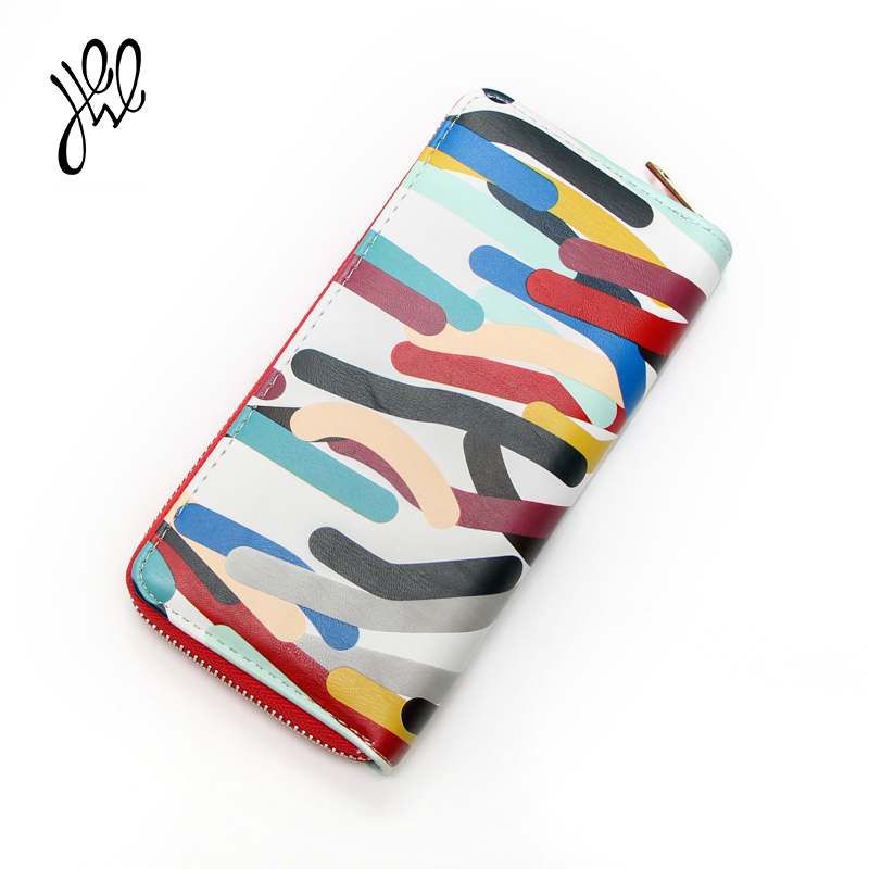 2017 New Arrival Women Wallet Leather Brand Designer Luxury Ladies Wallets Long Striped Pattern With Card