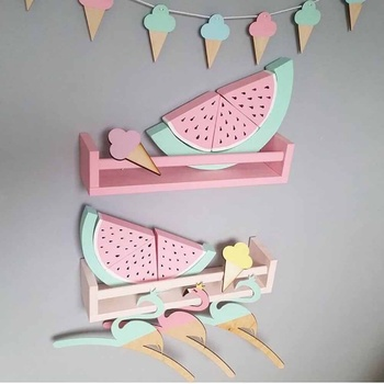 Wooden Watermelon Decoration Crafts With Early Educational Toy Building Blocks Set Wood Ornaments Kids Safe Natural Room Decor