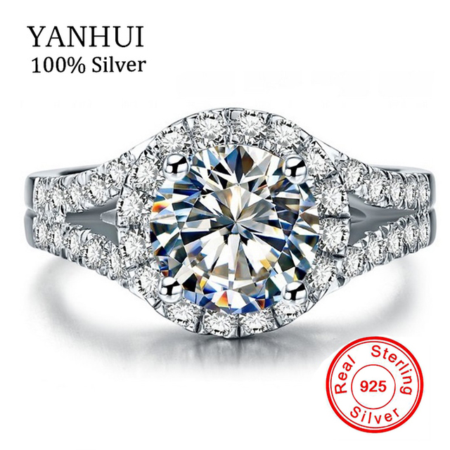 YANHUI Real 925 Sterling Silver Ring With S925 Stamp 3 Carat CZ Diamant Wedding  Rings For