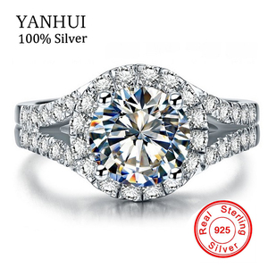 YANHUI Real 925 Sterling Silver Ring With S925 Stamp 3 Carat CZ Diamant Wedding Rings For Women Ring Size 4 5 6 7 8 9 10 LR510
