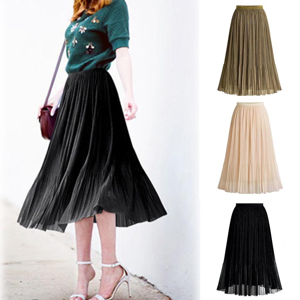 Women Long Skirts Elastic Waist Pleated Maxi Skirts Beach Boho Vintage Summer S-XL