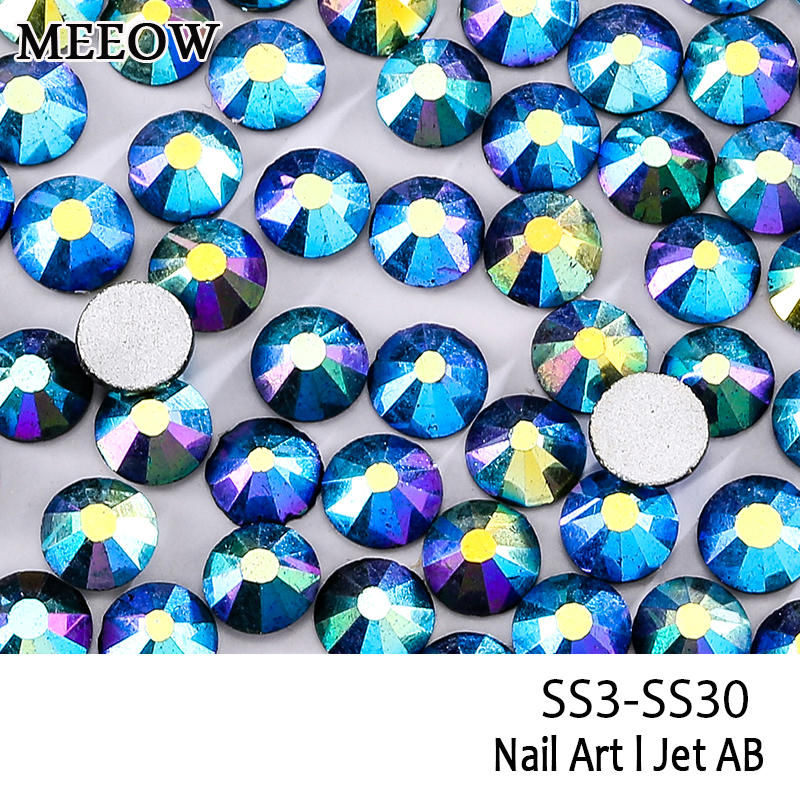SS3-SS30 Jet Black AB Nail Art Rhinestones With Round Flatback For Nails Art Cell Phone And Wedding Decorations universal nylon cell phone holster blue black size l