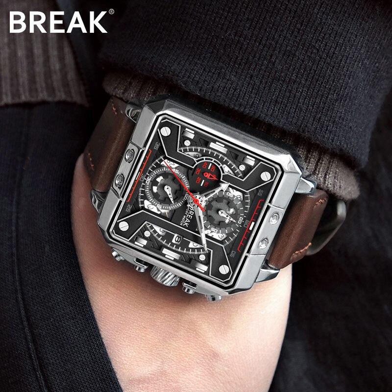 2019 Hommes Montre de Marque De Luxe Quartz Sport Business montres masculines Hommes En Cuir Chronographe Montres pour Homme Relogio Masculino