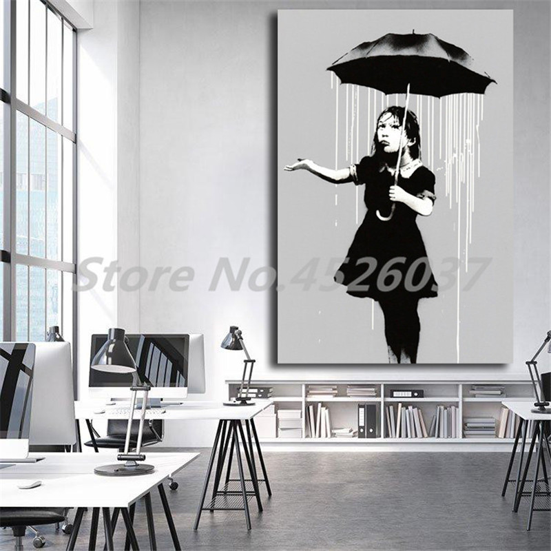 Banksy Nola Girl Umbrella Raining New Orleans Canvas Painting Print Living Room Home Decor Modern Wall