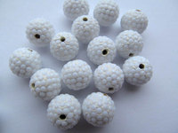 high quality bling ball 12mm 100pcs ,resin & opal white czech rhinestone spacer round jewelry beads