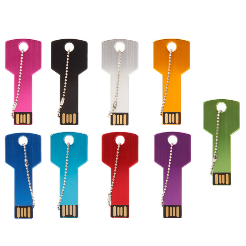 Metal Key USB Flash Drive 64GB Real Capacity Pendrive 32GB U Disk 2.0 128GB 16GB 8GB 4GB Pen Drive Memoria Usb Free Custom Logo