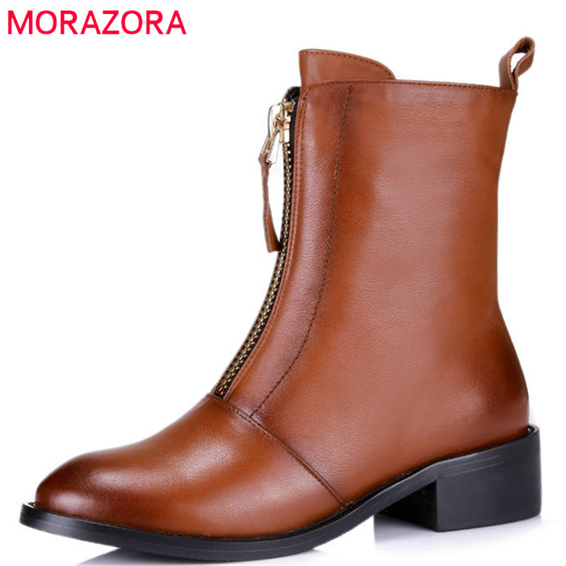 MORAZORA 2018 top quality genuine leather boots round toe short plush autumn winter ankle boots for women zip square heel shoes