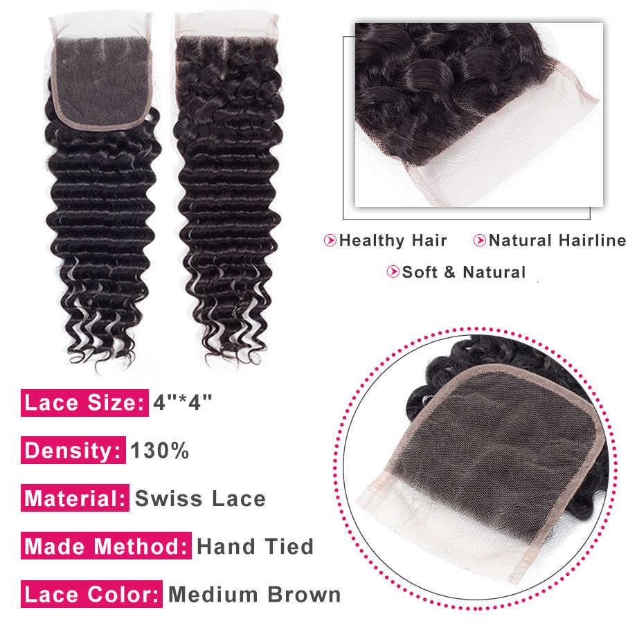 Hotlove волосы свободные глубокая волна пучок s с закрытием бесплатно Средний 3 волнистые части 4*4 перуанские накладные волосы пучок с закрытием не Реми