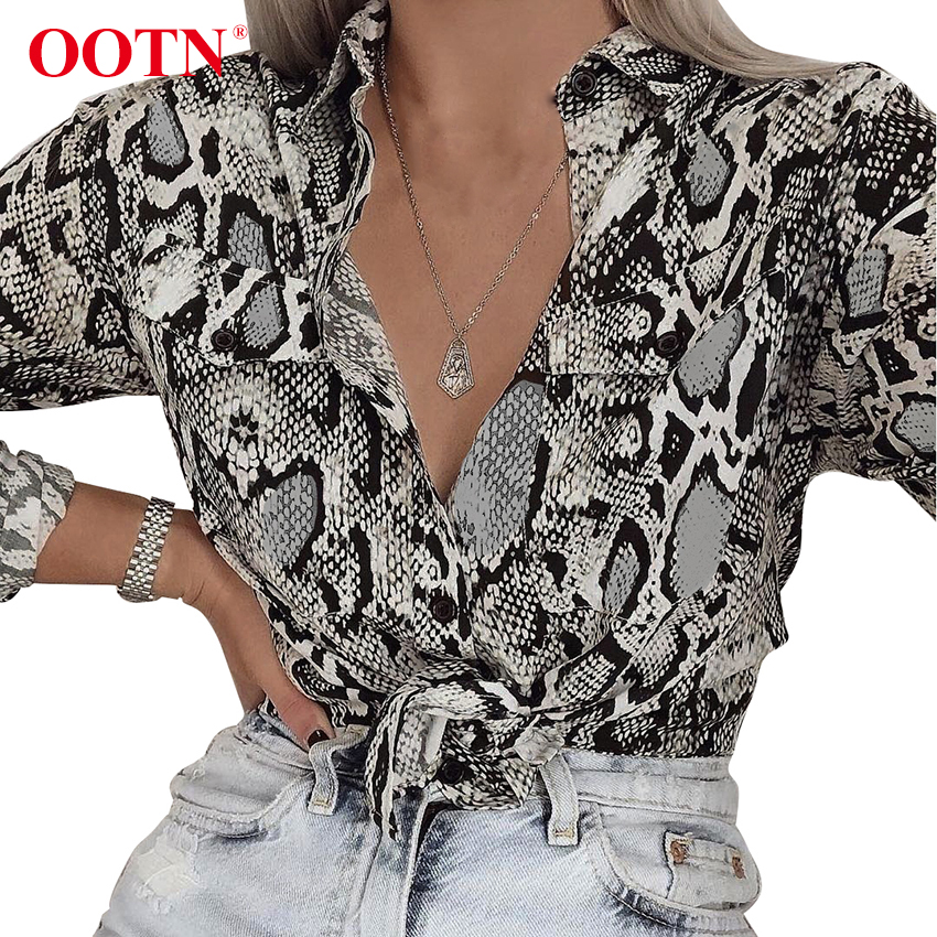 Image 2 - OOTN Womens Office Tops Long Sleeve Snake Skin Tunic Blouse Female Button Down Animal Print Shirts Vintage Casual StreetwearBlouses & Shirts   -