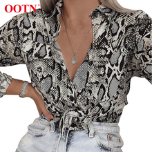 OOTN Womens Office Tops Long Sleeve Snake Skin Tunic Blouse Female Button Down Animal Print Shirts Vintage Casual Streetwear