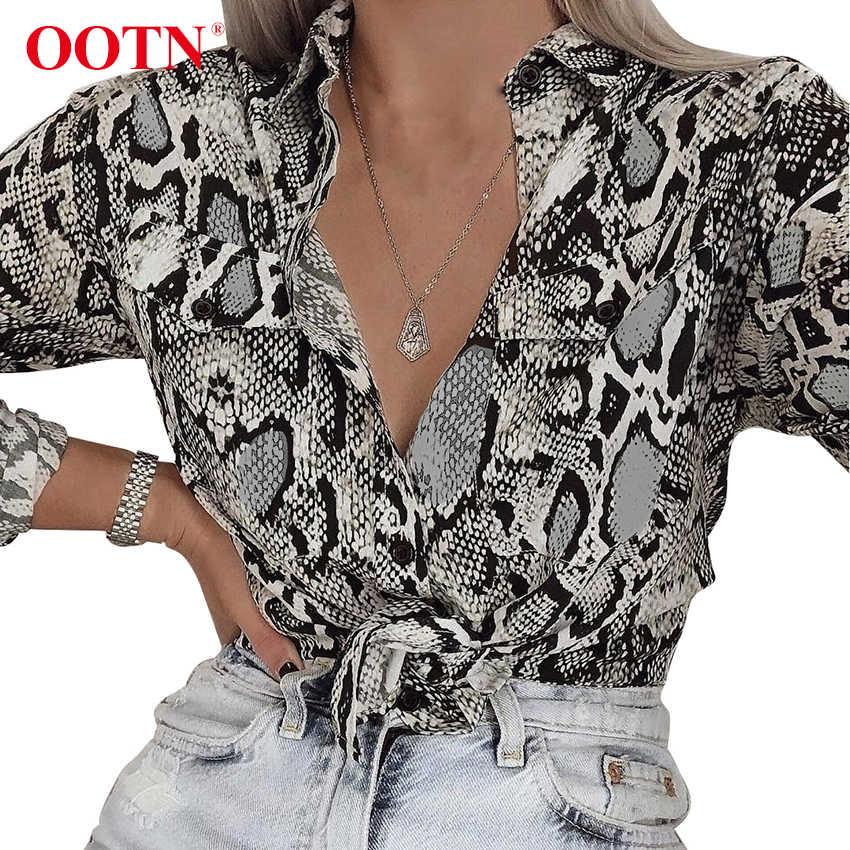 OOTN женские офисные Топы с длинным рукавом змеиная кожа Туника блузка женская на пуговицах с животным принтом рубашки винтажные повседневные уличные