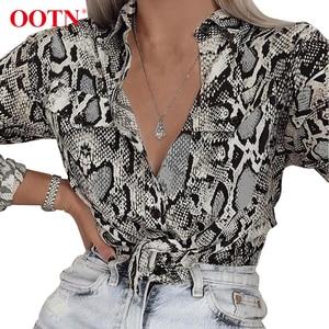 Image 1 - Ootn blusa feminina de manga longa, para escritório, feminina, de cobra, botão para baixo, estampa animal, vintage, casual