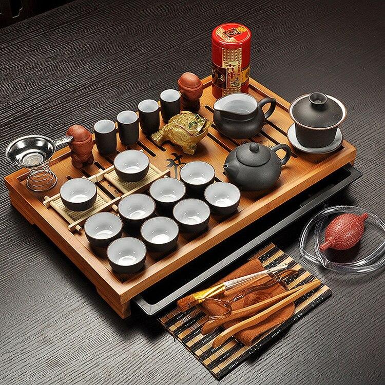 Чайный набор из фиолетовой глины Цзиндэчжэнь, чайный набор кунг-фу, посуда для напитков, чайная чашка, чайный столик Tureen Infuser, китайская чайн...