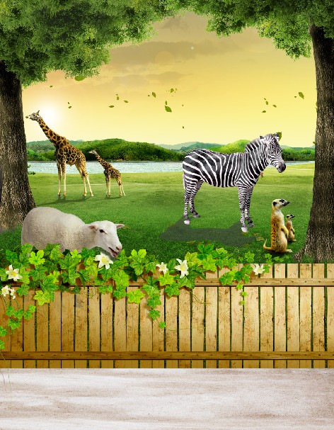 200cm 150cm Fundo Animal World Nature 3d Baby Photography Backdrop