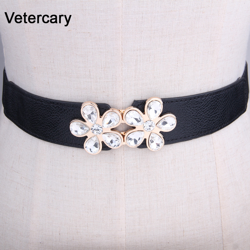 Women's Crystal Belts For Dresses Elastic Stretch Waistband Luxury Belt Lady Girls Cummerbund Fashion Elastic Waist Belt Black
