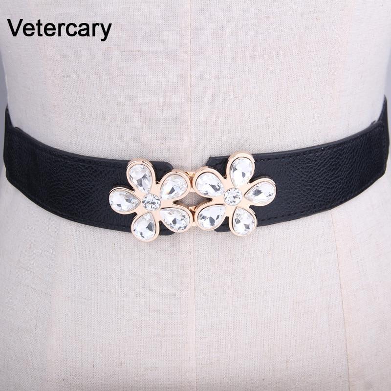 Women's Crystal Belts For Dresses Elastic Stretch Waistband Luxury Belt Lady Girls Cummerbund Fashion Elastic Waist Belt Black