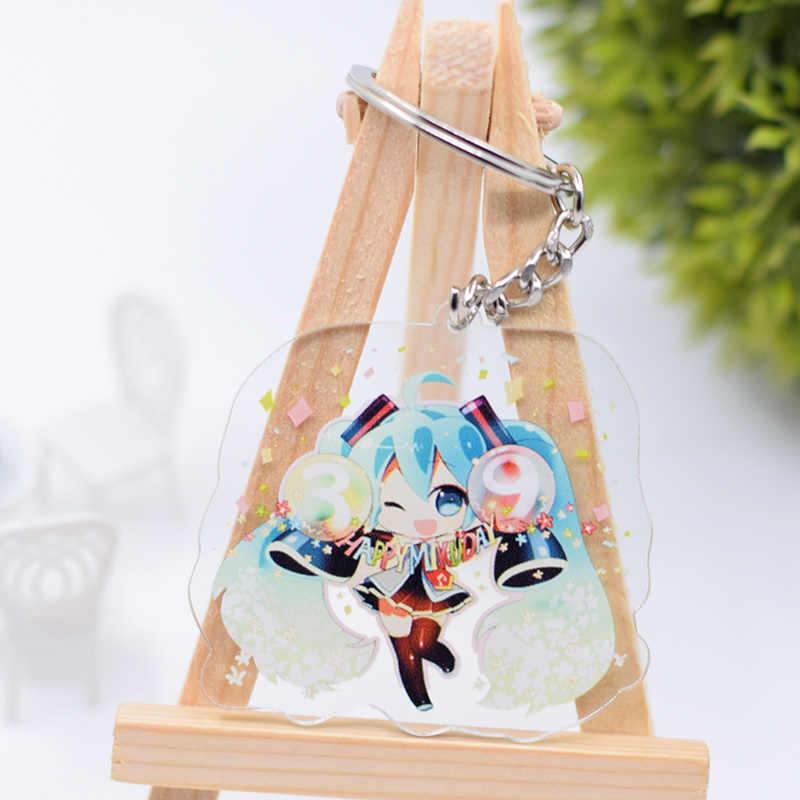 Hatsune брелок Мику милый двухсторонний Снежный Мику акриловый брелок для ключей Подвеска Аниме аксессуары брелок с фигурками из мультфильмов DBS1P