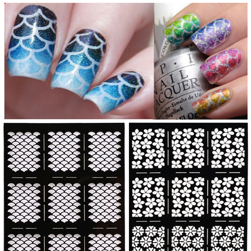 1Sheet Nail Stamping Stickers Nail Vinyls Irregular Grid Pattern Stamping Nail Art Tips Manicure Stencil Nail Hollow Stickers 12 tips sheet laser nails vinyls nail art manicure stencil nail art hollow stickers decoration tools accessories