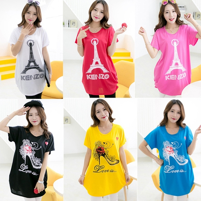 1 Piece Wholesale Price Summer Fashion Pregnant Women Tee Shirt Tops Large Size Short Sleeve Pregnancy Clothes HE16-30