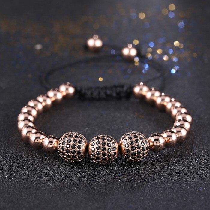 Горячая Мода Бусины 10 мм микро декор cz проложить Бусины браслеты для мужчин плетение макраме браслет pulseira feminina