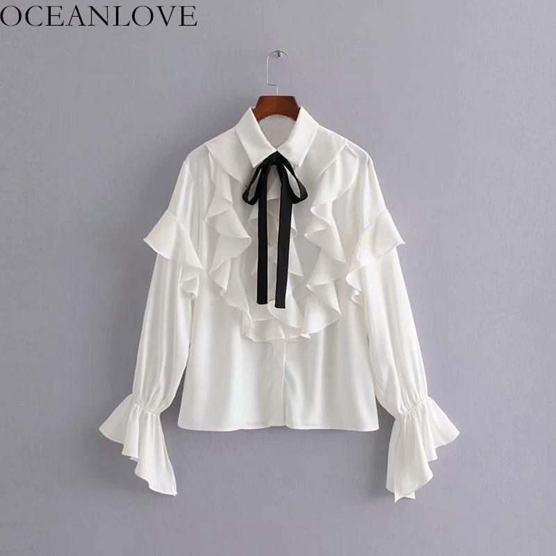 Nouveau 2019 Ruches Bow down Chemises Unique Blusas Poitrine Collar Oceanlove 10822 Printemps Blouse Femmes Lace Turn White Up Manches Papillon vdXwSz