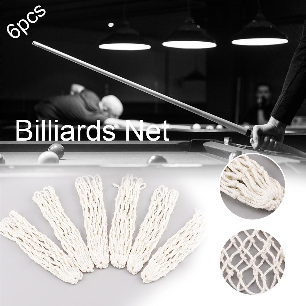 6x Billiard Snooker Pool Table Nylon Net Mesh Pockets Club Bags Billiards Kit H