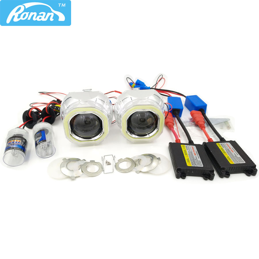 RONAN 2.5 HID Bi Xenon Projector Headlight Lens LHD/RHD H1 H4 H7+Square COB Angel eye+Xenon kit Headlight Car Styling Retrofit 2 5inch bixenon projector lens with drl day running angel eyes angel eyes hid xenon kit h1 h4 h7 hid projector lens headlight
