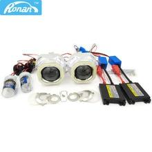 RONAN 2.5 HID Bi Xenon Projector Headlight Lens LHD/RHD H1 H4 H7+Square COB Angel eye+Xenon kit Headlight Car Styling Retrofit