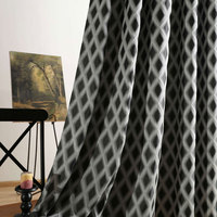 Geometric Jacquard Curtains For Bedroom Home American Window Treatments 3d Designer Kitchen Curtains Drapes For Single