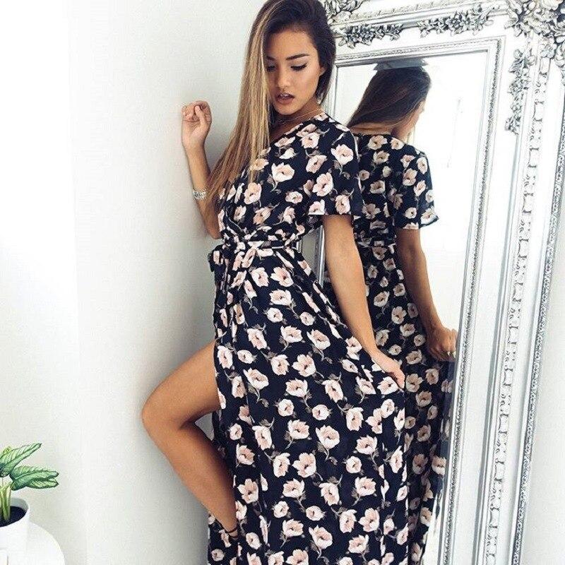 cbb3ffcaf 2017 amazon caliente de maternidad ropa para mujeres embarazadas sexy dress  vintage dividida playa de la impresión floral de la gasa dress holiday dress  en ...