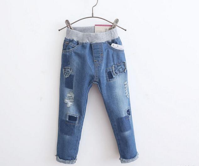 Venta al por mayor 5 unids/lote bebé Denim Jeans niños Distrressed moda infantil otoño del resorte pantalones largos pantalones alta calidad