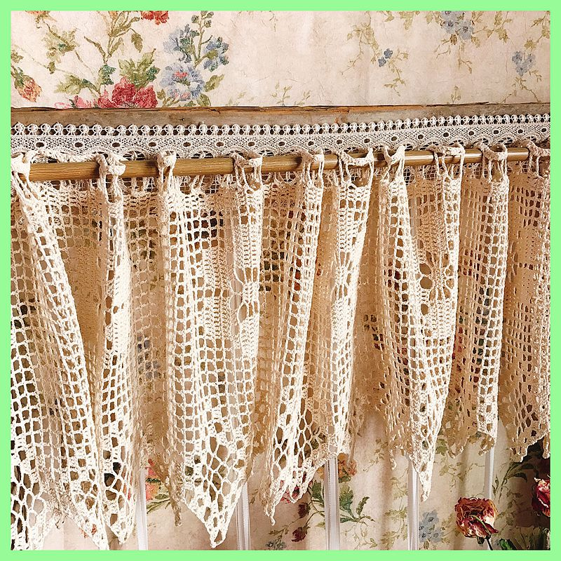 1Pc Home Decoration Pastoral Style Coffee Curtains Cotton Short Curtains For Kitchen / Dining Room Embroideried Hollow Lace