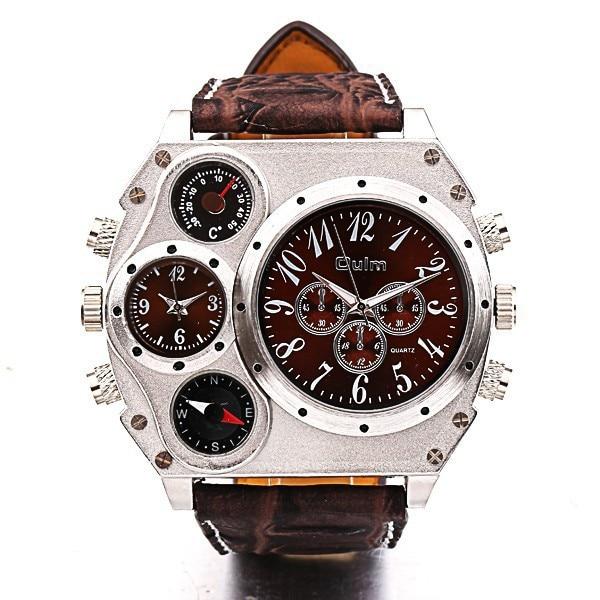 aliexpress com buy oulm quartz wrist watch 1349 personalized oulm quartz wrist watch 1349 personalized oversized case thermometer compass dual quartz movements wrist men watch