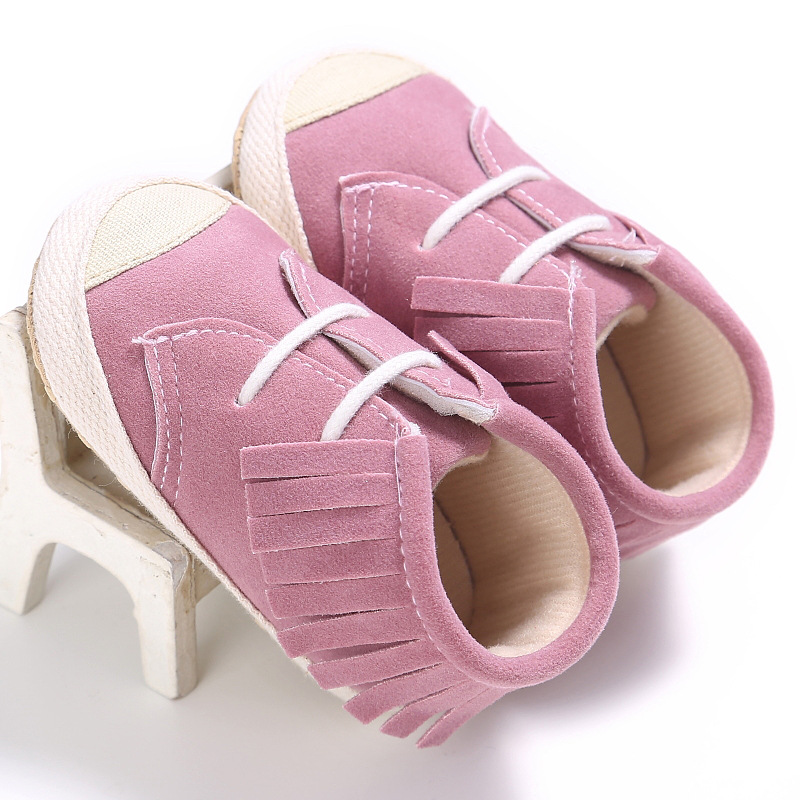 Non-slip Baby Moccasins Cotton Soft Sole Lace-up Fringe Baby Crib Shoes Fashion Newborn Toddler Sneakers Infant Girls Shoes