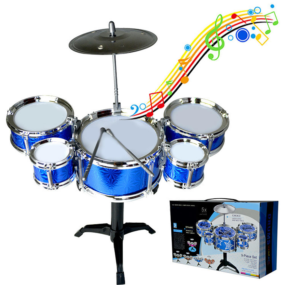 Random Color Children Kids Jazz Drum Set Kit Musical Educational Instrument Toy 5 Drums + 1 Cymbal With Small Stool Drum Sticks