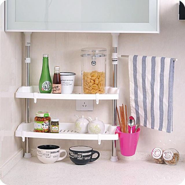 retrctil de acero inoxidable cocina estante para platos organizador en rack de especias