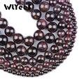 Высококачественные бусины WLYeeS из натурального граната, 4, 6, 8, 10 мм, круглые бусины с отверстием, винно-красные бусины россыпью для изготовлен...