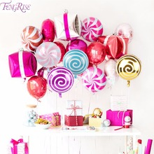 FENGRISE Baby Shower Decorations Candy Balloons Girl Boy Round Lollipop Foil Baloon Birthday Party Kids