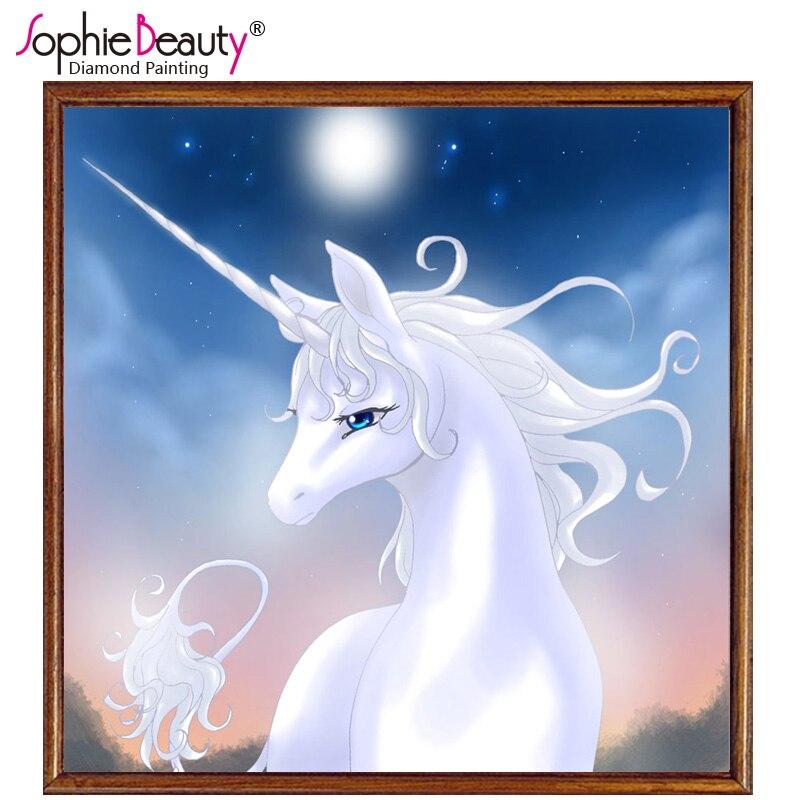 3D DIY Hand craft Diamond Embroidery White Unicorn Cute Horse Mosaic Painting Nice Home decoration Cartoon Diamond Cross Stitch