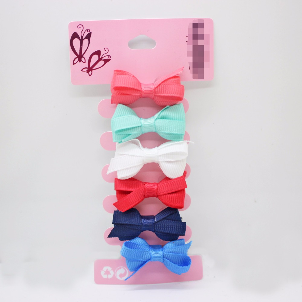 Hot sale 6 pcs/lot rubber bow hair clips 35mm alligator clips for little girls solid lovely barrettes hair accessories