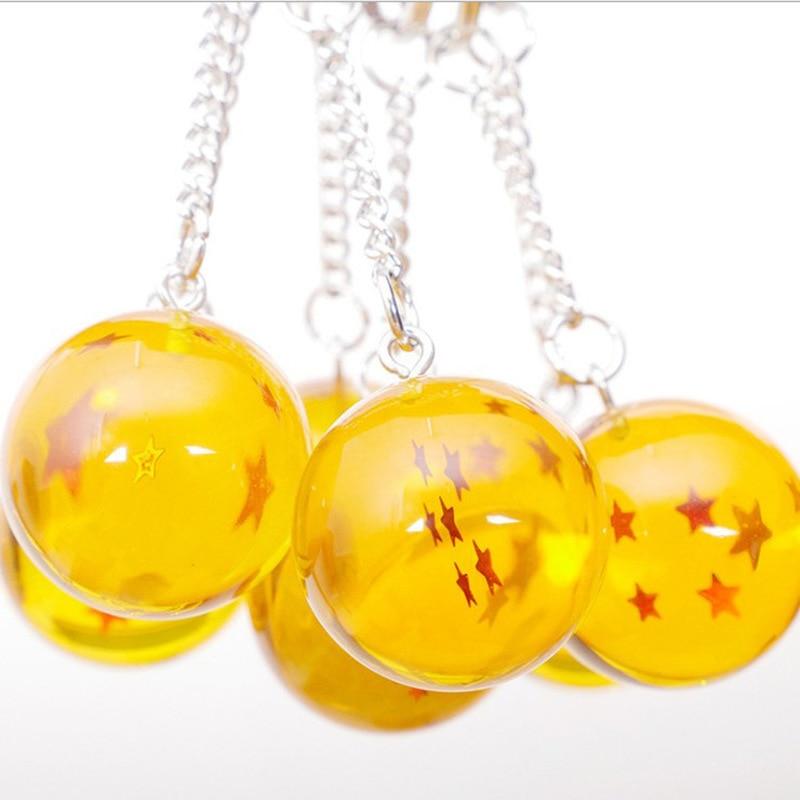 Fashion Cartoon Anime Dragon Ball Keychain Child  Cosplay Dragonball Stars Crystal Ball Keyrings PVC Pendant Key Holder